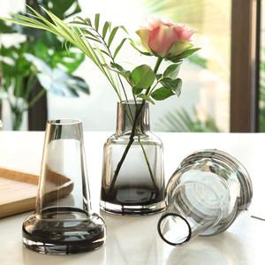 北欧ins简约玻璃花瓶水培绿萝鲜花创意香熏花瓶餐厅客厅插花摆件
