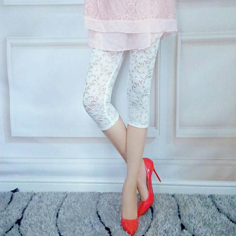 2020夏季白色蕾丝透肉打底裤显瘦修身镂空钩花薄款七分裤小脚裤女