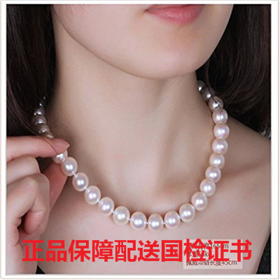 正品假一賠十9-10-11mm天然淡水珍珠項鏈正圓形強光送媽媽