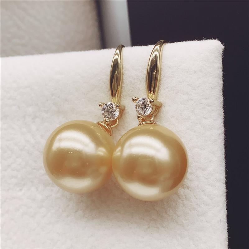 天然淡水珍珠粉耳环 925纯银耳坠 长款珍珠耳饰耳钉送女友送妈妈
