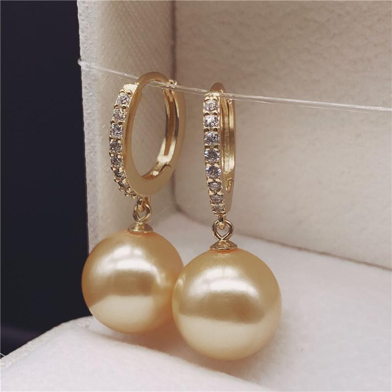 925纯银天然珍珠紫色珍珠耳环圈 耳饰 耳勾金色白色珍珠耳钉 耳坠