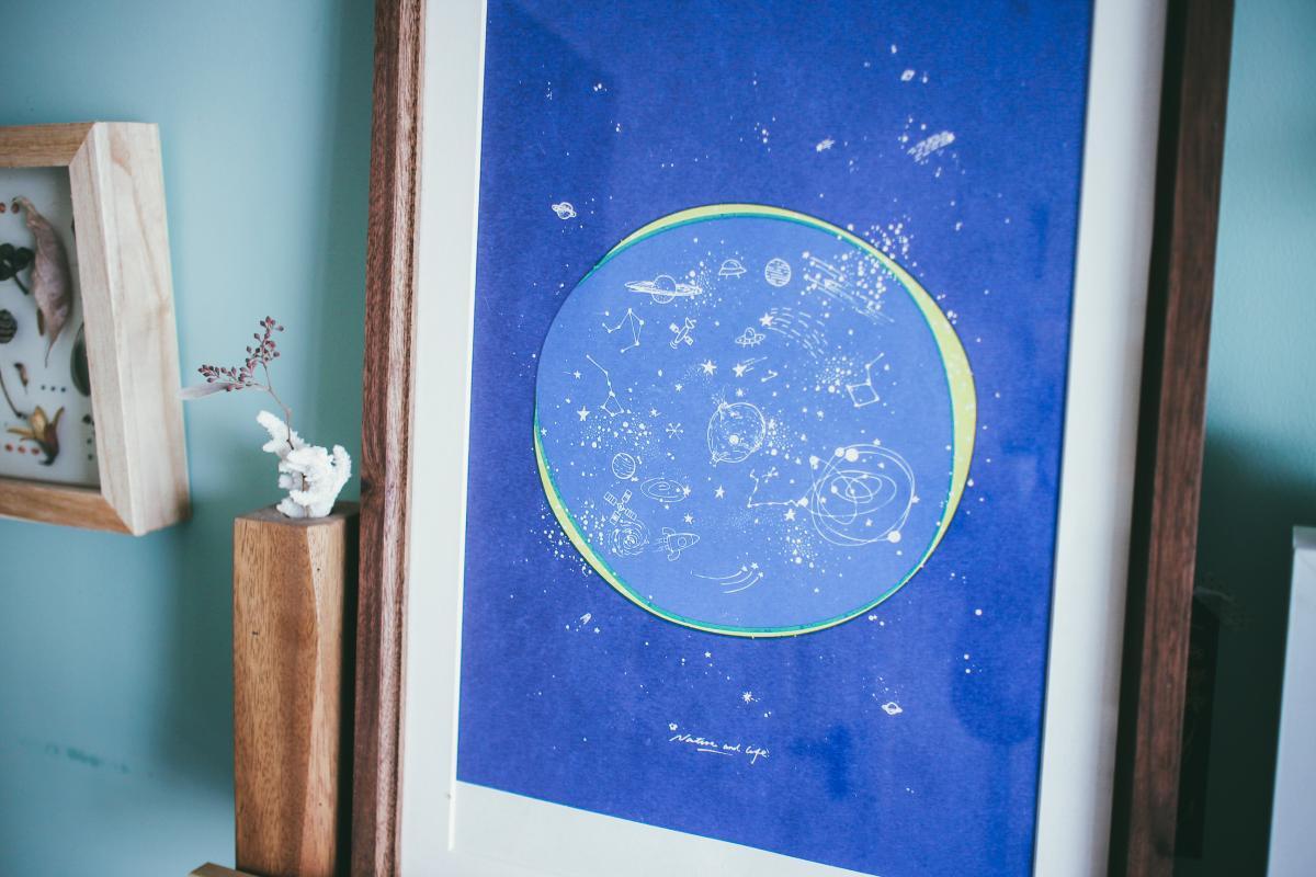 芯自然主题浩瀚星空宇宙装饰画荒石公园原创手绘手工丝网印刷版画
