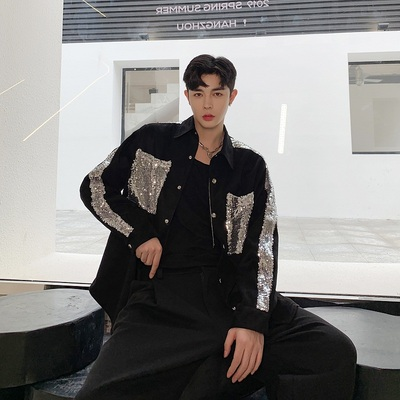 Singer net celebrity personality shiny sequin stitching contrast color Korean version of the trend of handsome shirt stage outfit spring and autumn jacket male