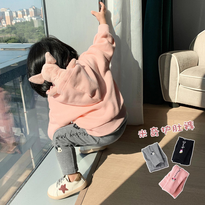 10-15新券LUSON米奇合作款 婴儿打底裤2019秋女宝宝长裤纯棉加厚新生儿裤子