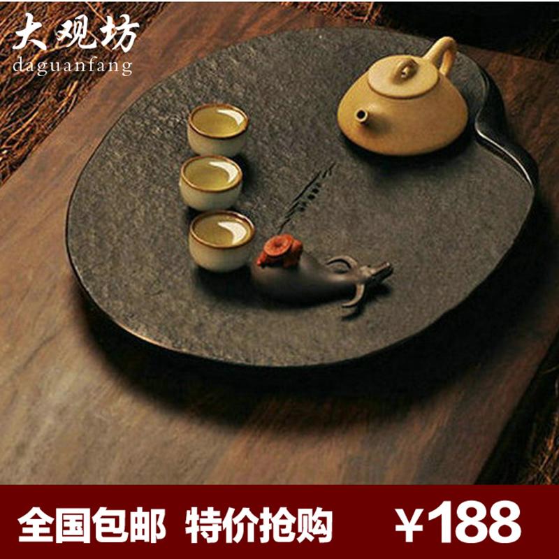 排水乌金石茶盘套装小号圆石头茶盘功夫茶具天然大号茶台石材茶海