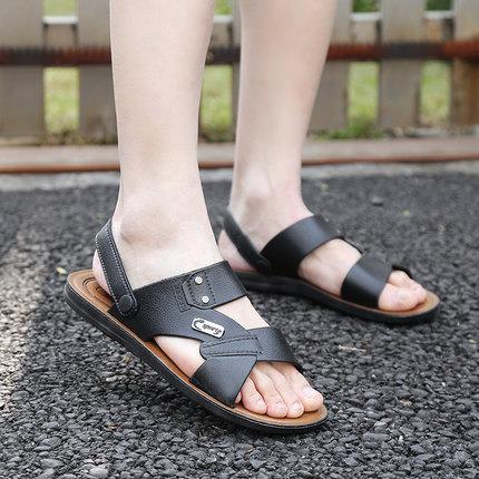 凉鞋男夏季2018新款大码男士透气防滑中老年爸爸凉鞋软底沙滩拖鞋