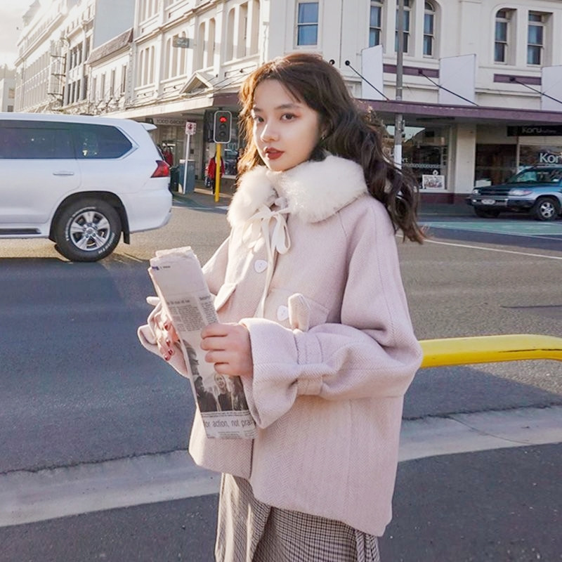 Small woolen coat womens short style fall / winter 2020 Korean version loose and thickened students Cape woolen overcoat