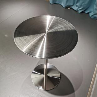 簡約咖啡廳圓桌椅網紅休閒迷你鐵藝小桌子創意現代不鏽鋼陽台茶几