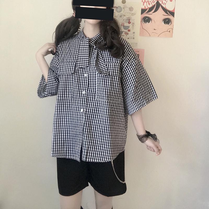 双马尾协会 日系JK制服港风学院风 个性女孩领结格子oversize衬衫79.00元包邮