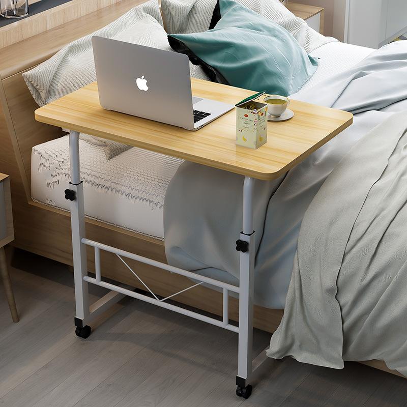 简易升降家用台式笔记本电脑桌书桌置地用可移动懒人桌床边电脑桌,可领取3元天猫优惠券