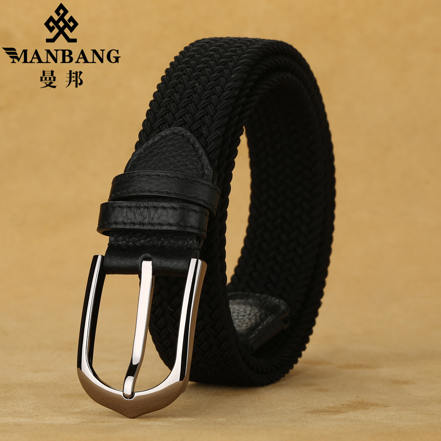 Manbang New Youth belt mens elastic elastic belt Golf canvas casual jeans belt fashion