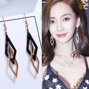高級感耳環2020新款潮韓國氣質網紅耳墜女長款圓臉顯瘦網紅耳飾品