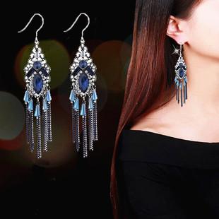 歐美時尚飾品簡約長款波西米亞水晶流蘇耳環誇張顯臉瘦耳墜名族風