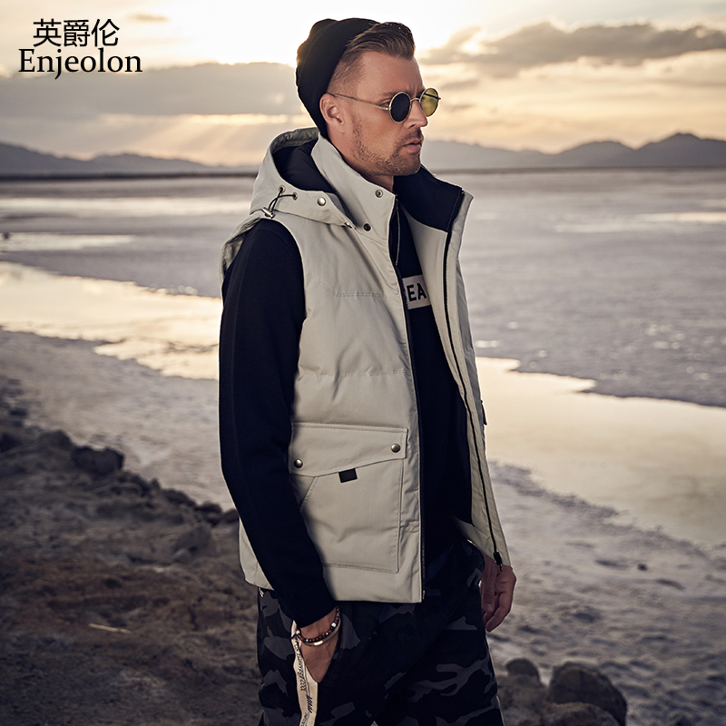 British Baron men's cotton vest Korean sleeveless waistcoat men's coat fashion Hooded Vest