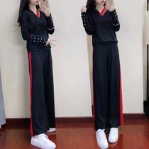 加肥加大码女装胖mm2018秋季新款韩版时尚套装休闲阔腿裤两件套潮