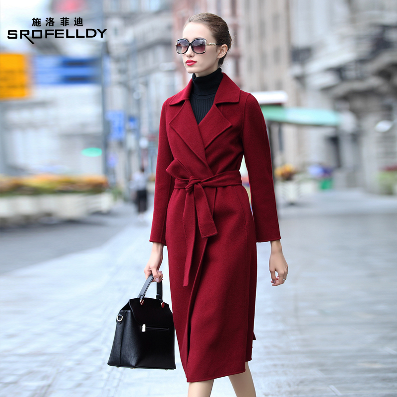 Anti-season Hepburn style double-sided no cashmere coat women 2020 new mid-length slim woolen coat autumn and winter
