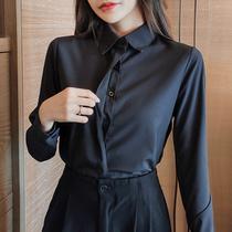 2020秋冬黑色衬衫女长袖职业装工作服大码打底衫气质白衬衣防走光