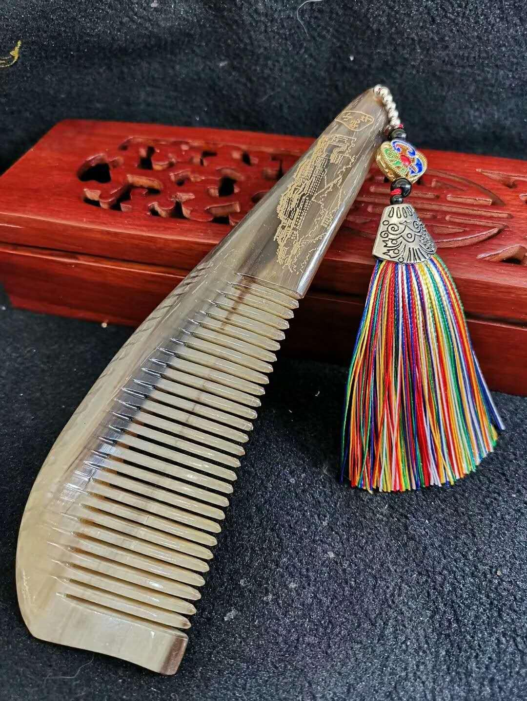 仓央小铺 西藏特色牦牛角梳长约18CM舒适手感好可以充当刮痧板