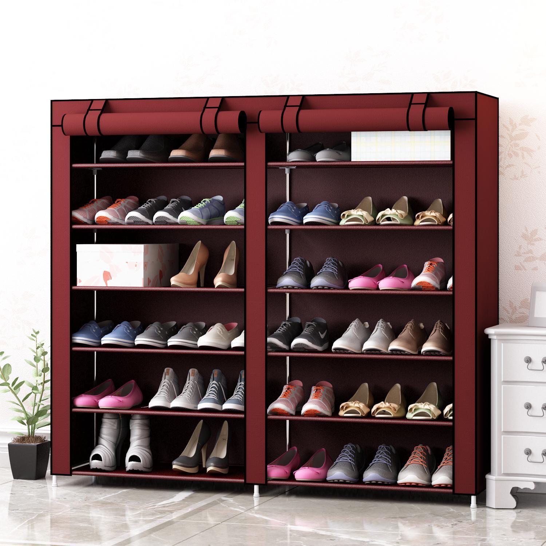 鞋架简易多层家用经济型门口省空间学生宿舍小号拉链防尘布艺鞋柜