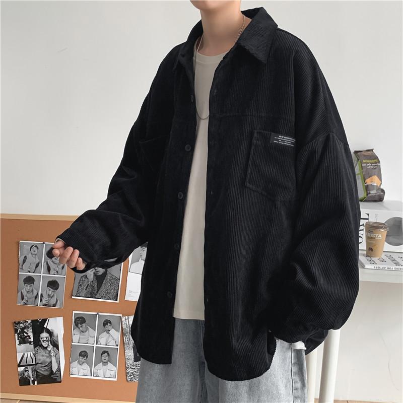 新款秋冬灯芯绒长袖衬衫男宽松复古潮流休闲衬衣外套学院风