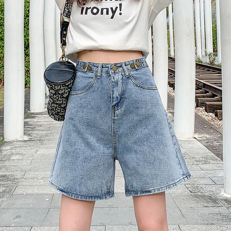 实拍628#泫雅风裤子新款韩版浅色高腰牛仔裤女直筒宽松阔腿裤短裤