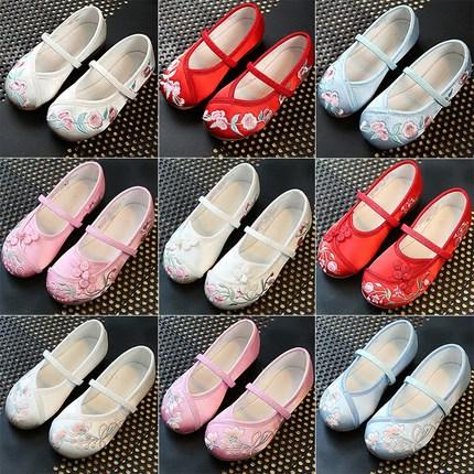 女童布鞋复古传统手工刺绣梅花牛筋底童鞋女宝宝汉服唐装配套鞋子