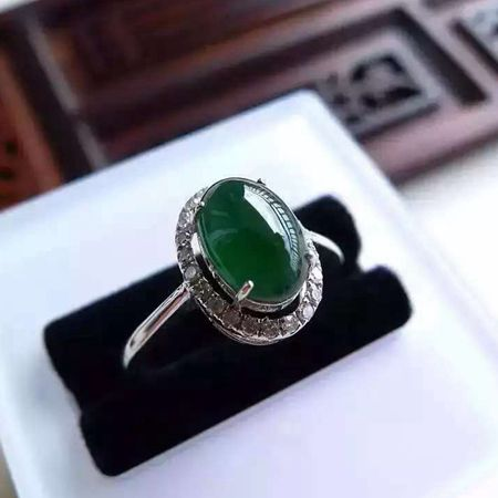 18K diamond inlaid with ice blue water egg face womens ring, jewelry authentic Myanmar natural a-jade