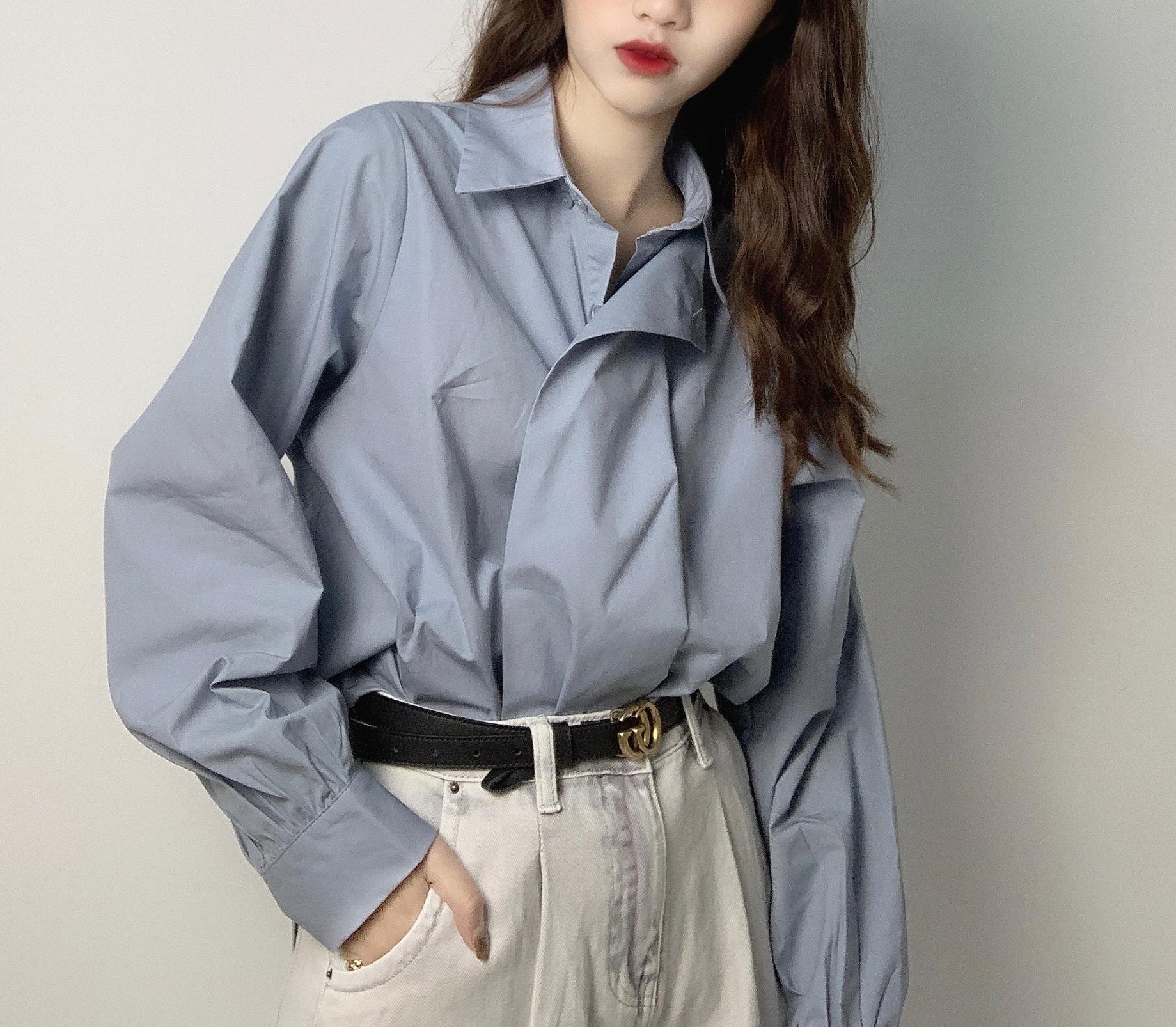 French shirt womens sense of design niche 2020 new temperament Lapel net version loose long sleeve shirt retro Hong Kong Style