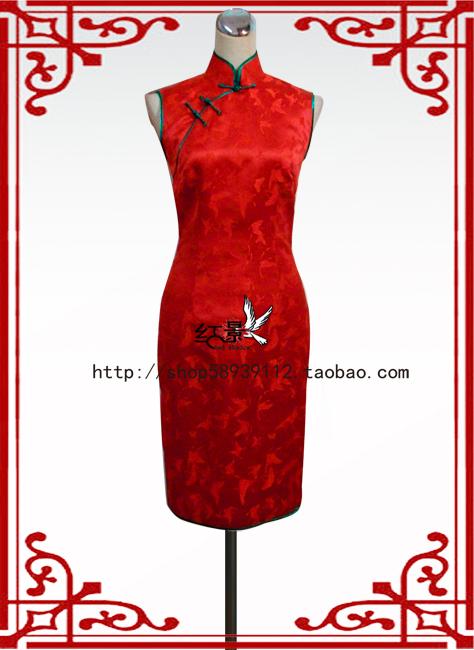 定制旗袍 精品红色礼服 结婚新娘旗袍 蝴蝶花织绵锻旗袍