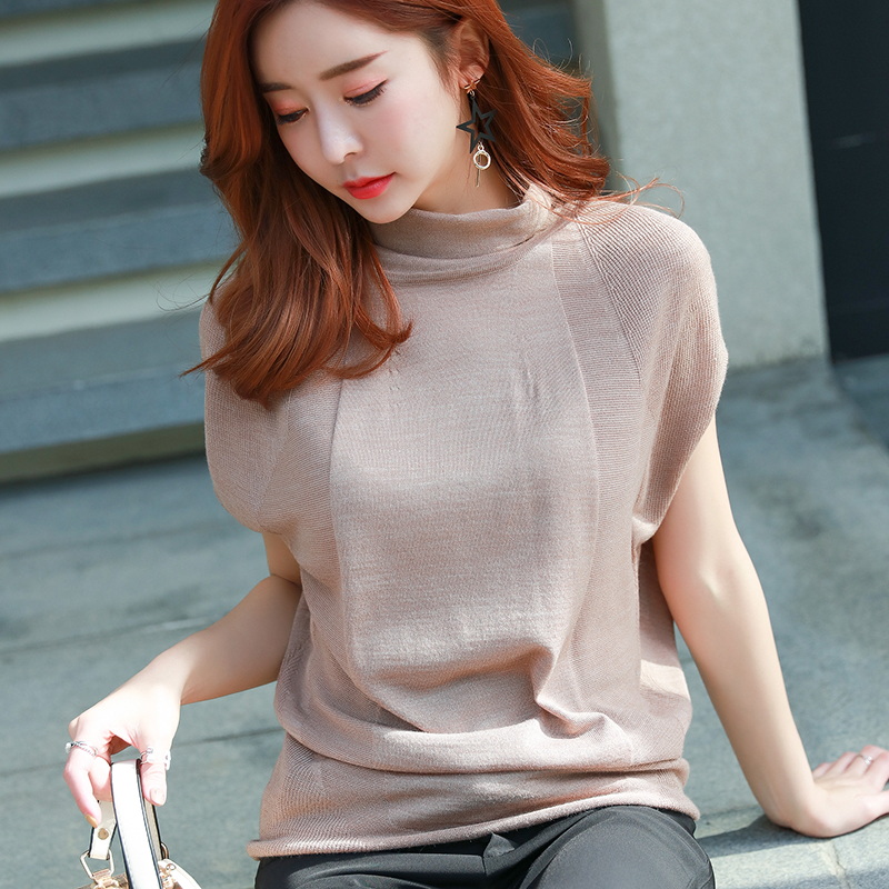 Early autumn womens knitted large size top short sleeve loose T-shirt half sleeve high collar top fashionable sweater