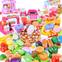 Childrens home kitchen toys girl vegetables cut to see baby cutting fruit cutting Fun Burger Pizza collection Machine