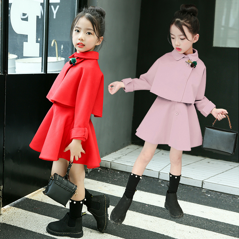 Girls suit skirt, winter dress, foreign style 2020 new dress, mink velvet and cotton, fashionable two-piece suit for middle and large children