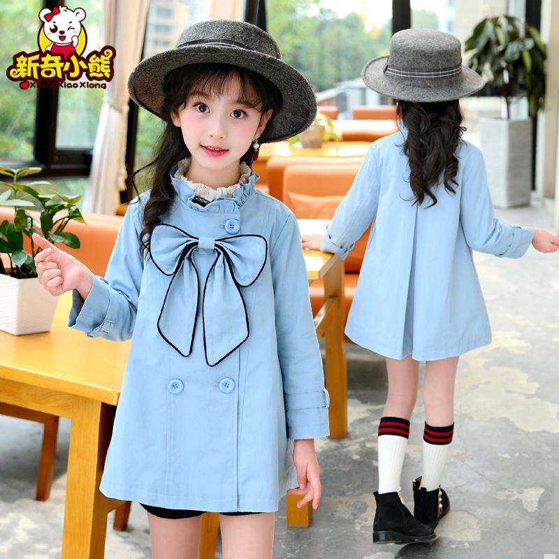 Girls spring and autumn coat 2018 new CUHK childrens long sleeve Korean double breasted windbreaker bow baby top