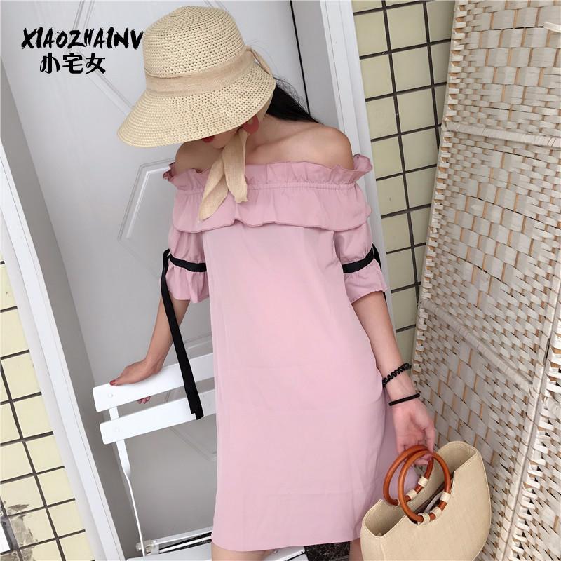 新品2018新款女装春装港风性感一字肩连衣裙女短袖中长款A字裙打