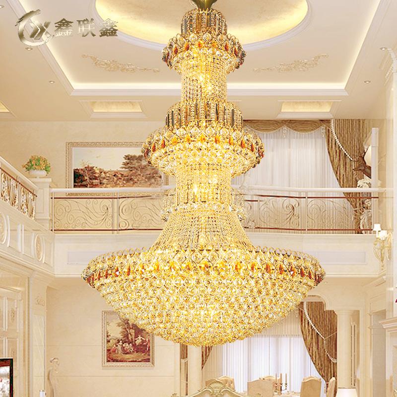 复式楼金色欧式现代水晶大吊灯别墅客厅灯大气楼中楼梯吊灯长吊灯