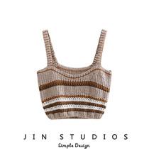 JIN自制 19夏设计感针织镂空条纹撞色吊带衫显瘦百搭外穿背心上衣