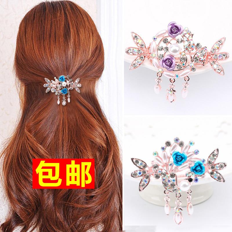 韩版女发饰发夹饰品横夹盘发孔雀玫瑰花水钻抓夹发卡中号