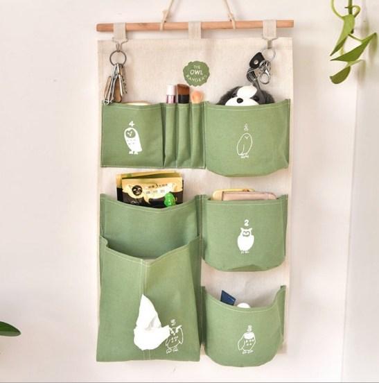 布艺挂墙上置物袋储物挂兜 门后可悬挂式收纳布袋多层墙面壁挂袋