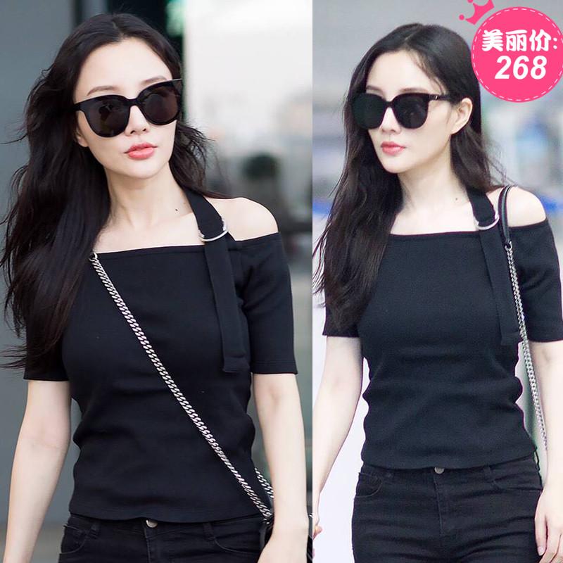 2018春夏李小璐明星同款短袖t恤一字领露肩修身短款黑色上衣女潮