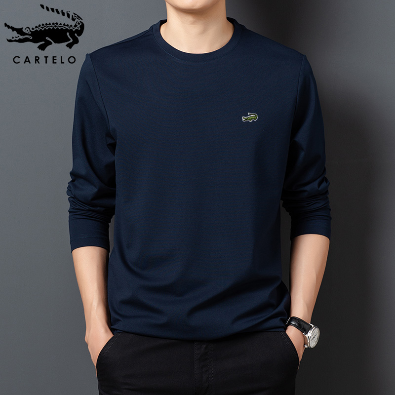 Cartier crocodile men's new spring mulberry round neck solid color base coat silk long sleeve men's T-shirt