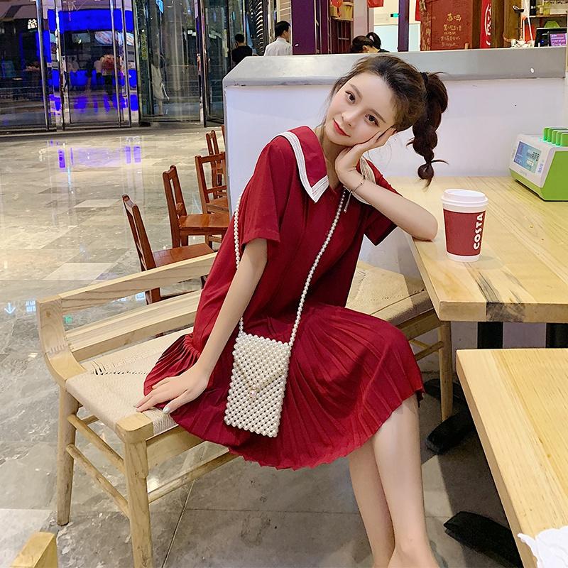 娃娃领连衣裙学院风甜美2020夏新款宽松雪纺红色直筒百褶衬衫裙子