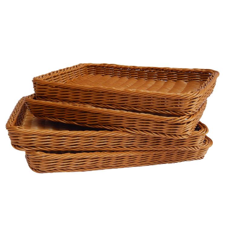 面包篮面包筐水果篮水果筐托盘方形仿藤筐大藤篮超市陈列篮浅篮子