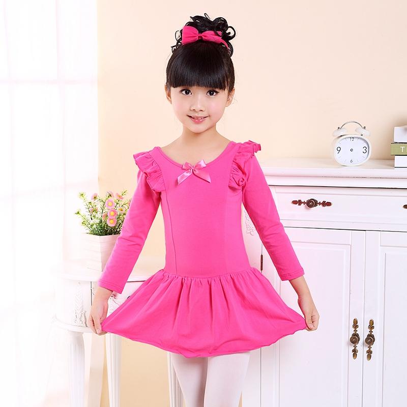 兒童舞蹈服裝春 長袖芭蕾舞裙演出服舞蹈衣女童練功服純棉