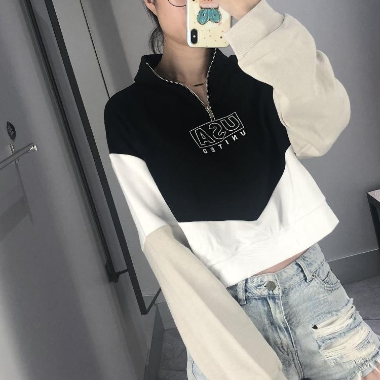 HM&ZQRQ女装2019秋装新款usa图案拉绒立领卫衣短款上衣女0754713