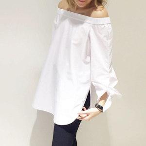高端女装欧美大牌一字领露肩蝴蝶结白衬衫衬衣女宽松上衣夏设计感