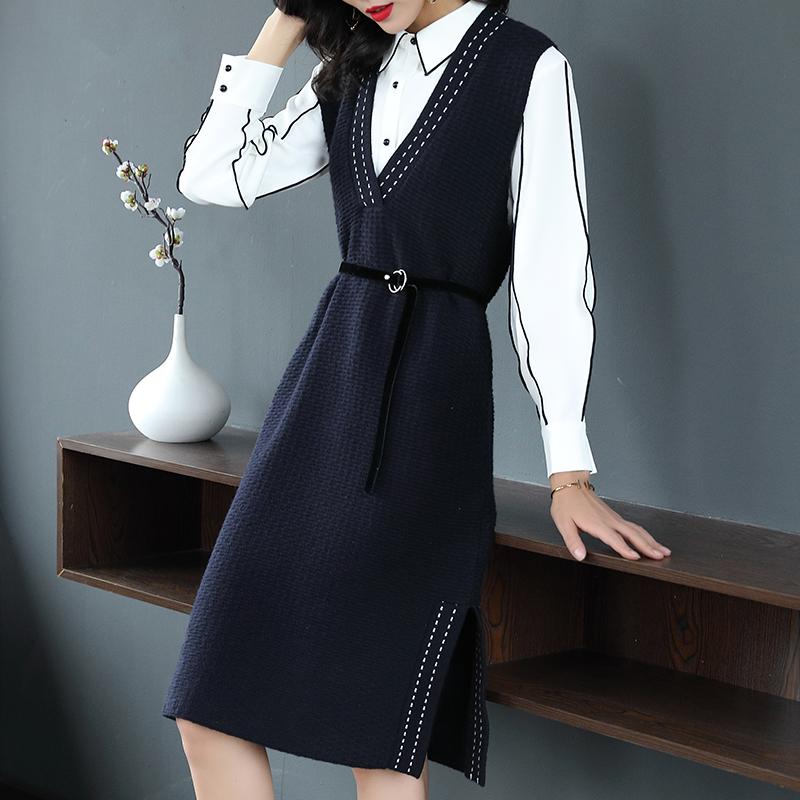 2018秋冬新款职业气质长袖针织背带连衣裙修身显瘦时尚两件套女