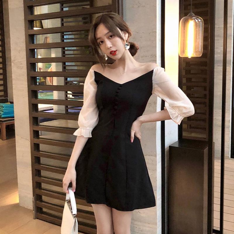 满169.00元可用90元优惠券2019年新款夏桔梗法式黑裙仙女裙