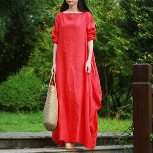 杨丽萍同款设计连衣裙女长款春秋文艺复古裙子长袖民族风棉麻长裙