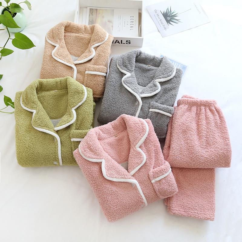 睡衣女士冬季珊瑚绒加厚款法兰羊羔绒家居服6sixty8eight大码韩版