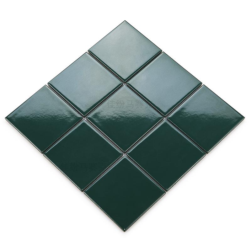 龙游   马赛克绿色亮光哑光100规格颗粒陶瓷马赛克卫生间背景墙